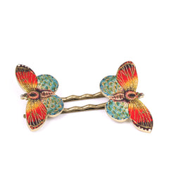BP5037  Orange Butterfly Bobby Pins