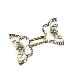 BP5043  White Butterfly Bobby Pins