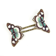 BP5044  Brown Red Butterfly Bobby Pins