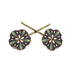 BP5051  Green Flower Bobby Pins