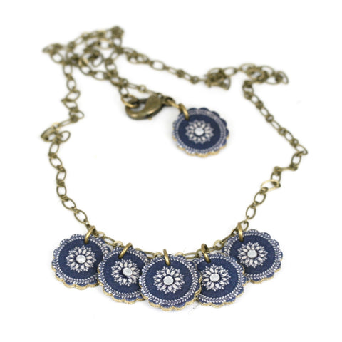 NK1428 China Plate Charm Necklace