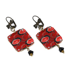 ER3266 Russian Red Floral Earrings