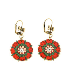ER3249 Red Flower Earrings