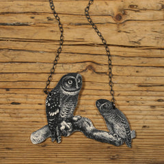 NK1063 Mother and Child Owl Necklace