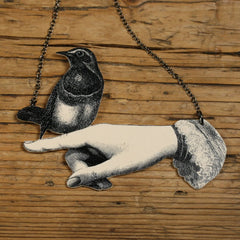 NK1017 Bird in Hand Necklace