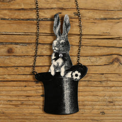 NK1002 Bunny in a Top Hat Necklace