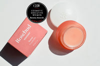 Unboxed Jar of Rosebud Woman award winning Honor Balm with a Cosmetic Executive Women Beauty Award Finalist embelem
