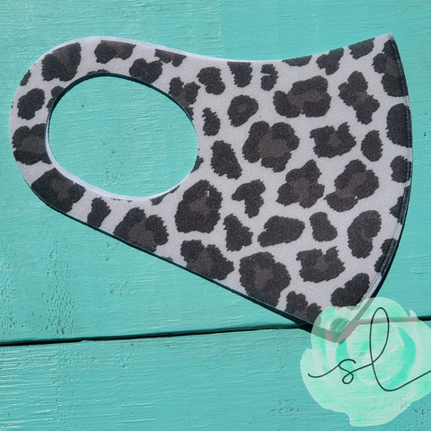 Leopard Face Mask - Grey