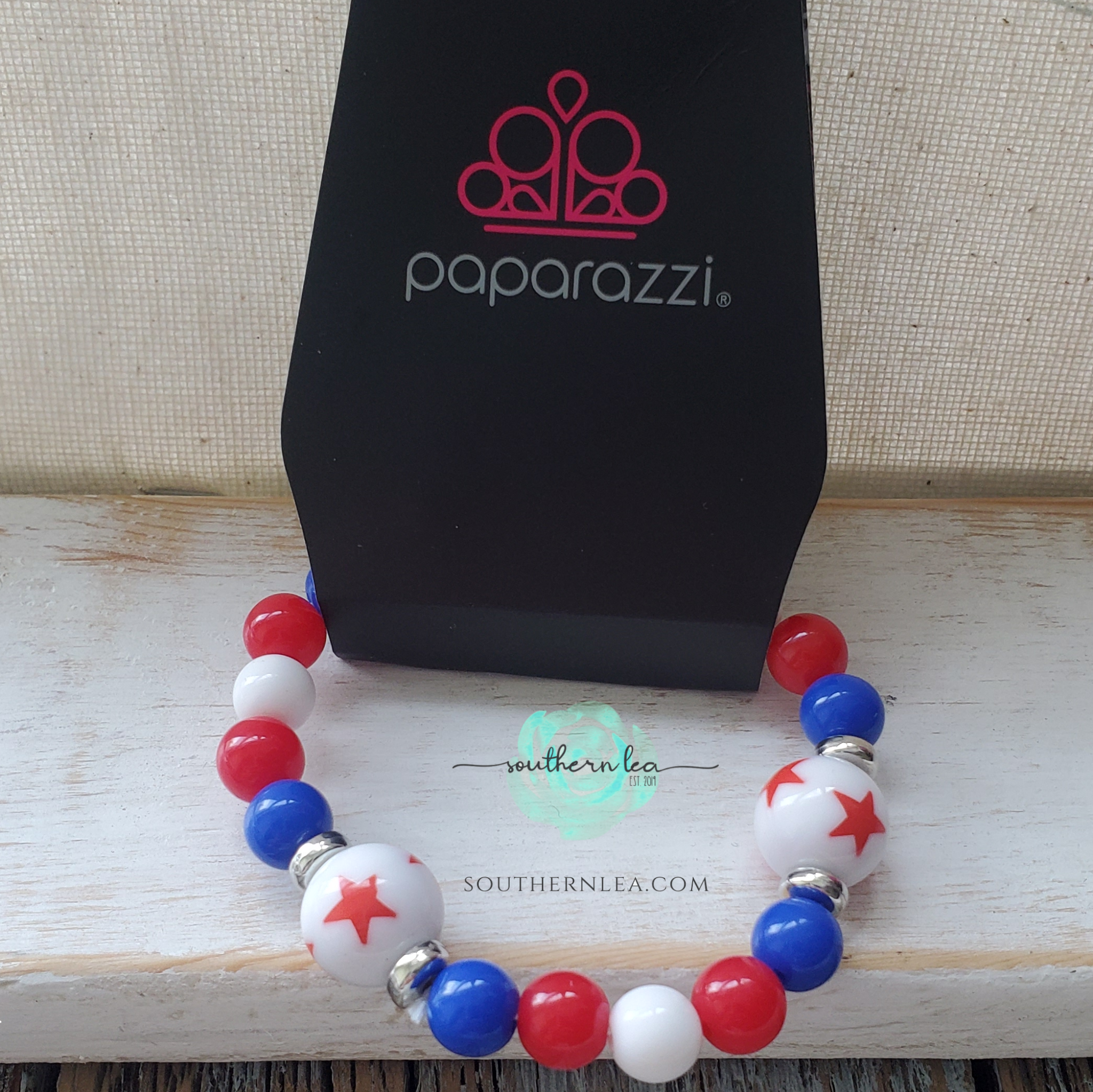 Red, White and Blue Beads w/ White Stars