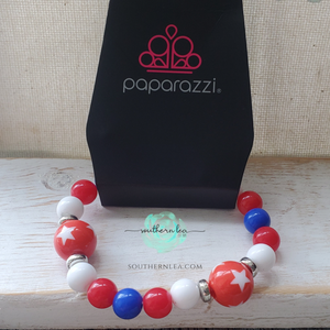Red, White and Blue Beads w/ Red Stars