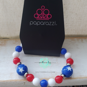 Red, White and Blue Beads w/ Blue Stars