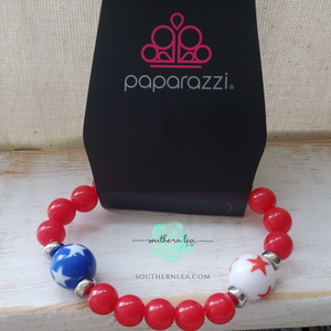 Red Beads with Blue and White Stars