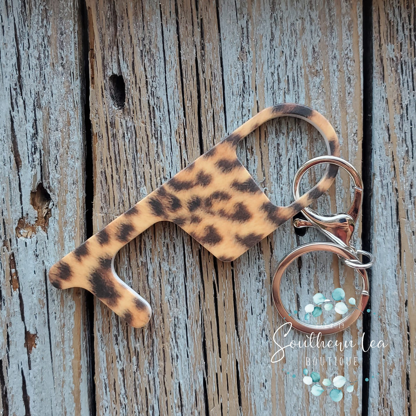 Touchless Key Door Opener - Faux Leopard