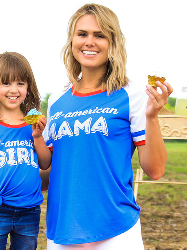 All American Mama Double Ringer Tee - Southern Lea