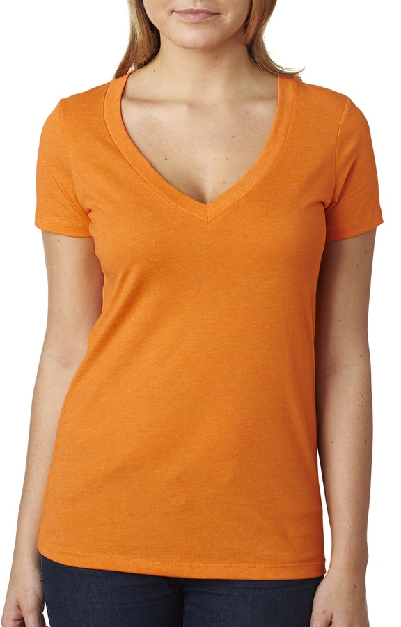 Orange Next Level Deep V Tee