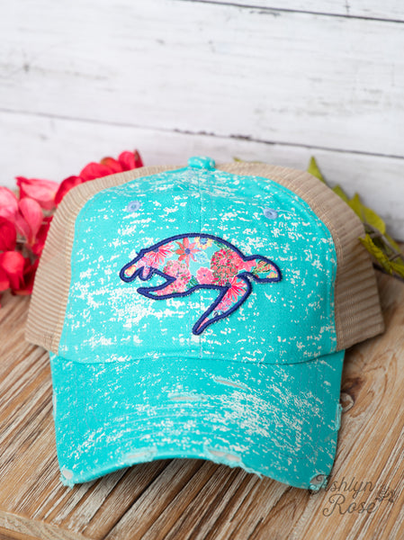 Turtle Patch on Turquoise Spatter Hat