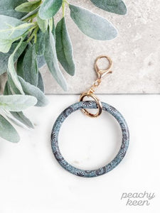 Grey & Navy Paisley Key Ring Bangle