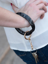 Load image into Gallery viewer, Black Metallic Snakeskin Key Ring Bangle - Southern Lea