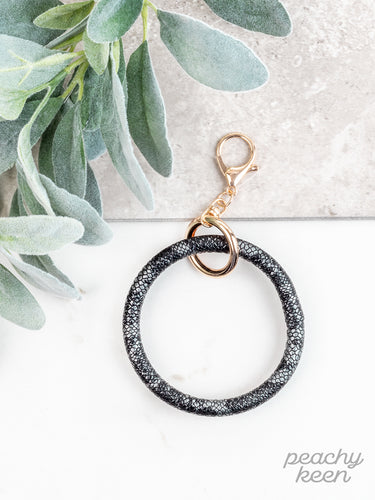 Black Metallic Snakeskin Key Ring Bangle - Southern Lea