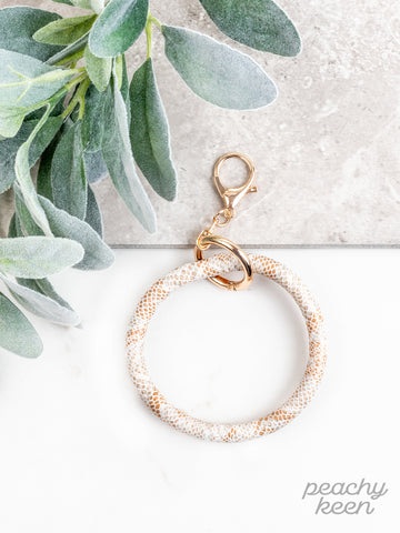White & Copper Snakeskin Key Ring Bangle
