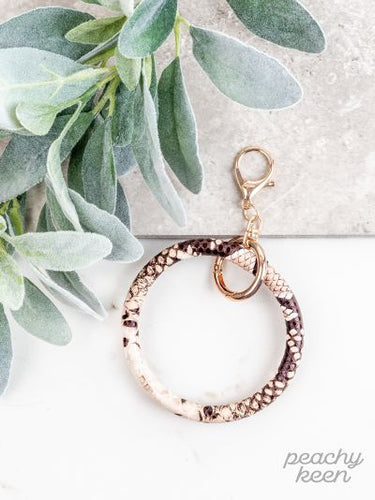 Beige Snakeskin Key Ring Bangle - Southern Lea