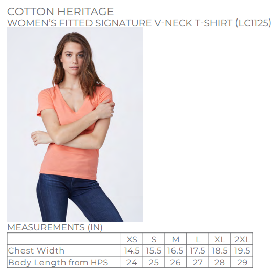 Cotton Heritage - Black - Fitted V Neck Tee