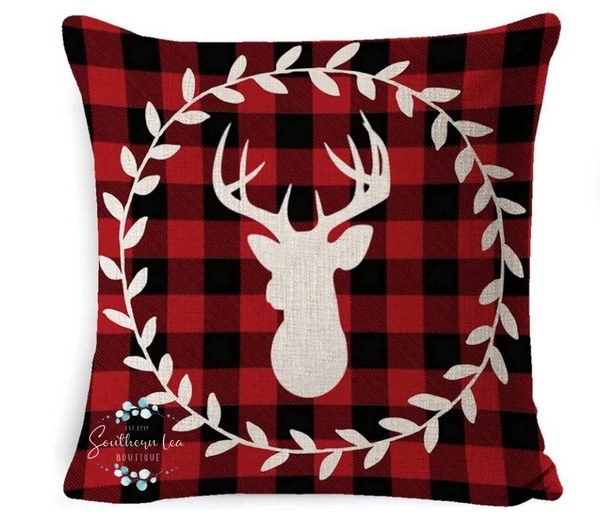 Red Plaid Deer w/ Berry Wreath Cover