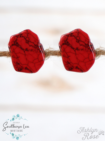 Chunky Red Stone Stud Earrings