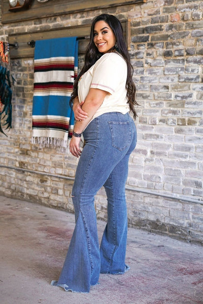 Distressed Knee High Super Flare Jeans - Plus Size by L&B