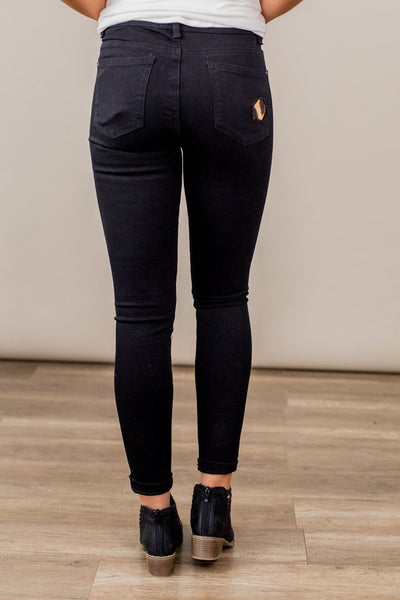 Judy Blue Black Leopard Distressed Jeans