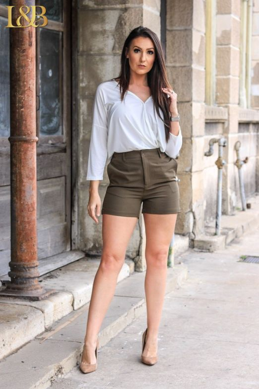 Olive High Waist Shorts by L&B