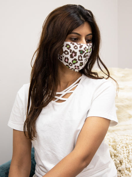 Leopard Face Mask - White