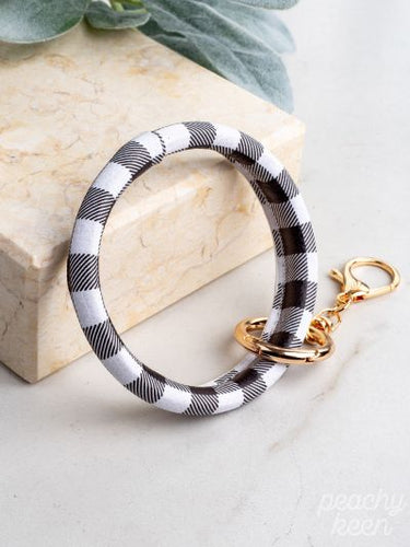 Black & White Buffalo Plaid Key Ring Bangle - Southern Lea