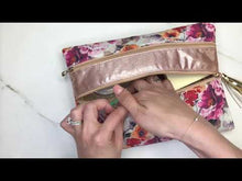Load and play video in Gallery viewer, Shimmery Faux Cow w/ Gold Double Zipper Versi Bag