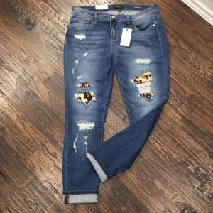 Judy Blue Leopard Distressed Jeans
