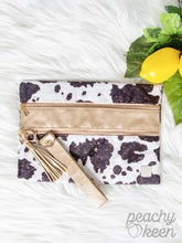 Load image into Gallery viewer, Shimmery Faux Cow w/ Gold Double Zipper Versi Bag
