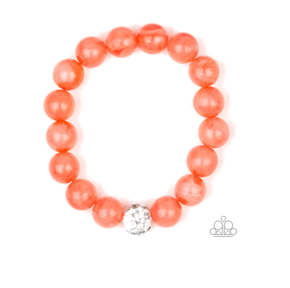 Orange Clear Beads w/ White Crystal Accent