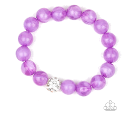 Purple Clear Beads w/ White Crystal Accent