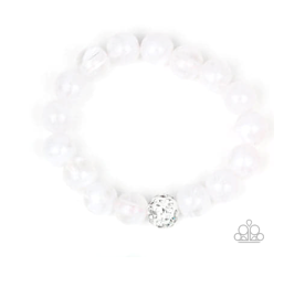 White Clear Beads w/ White Crystal Accent