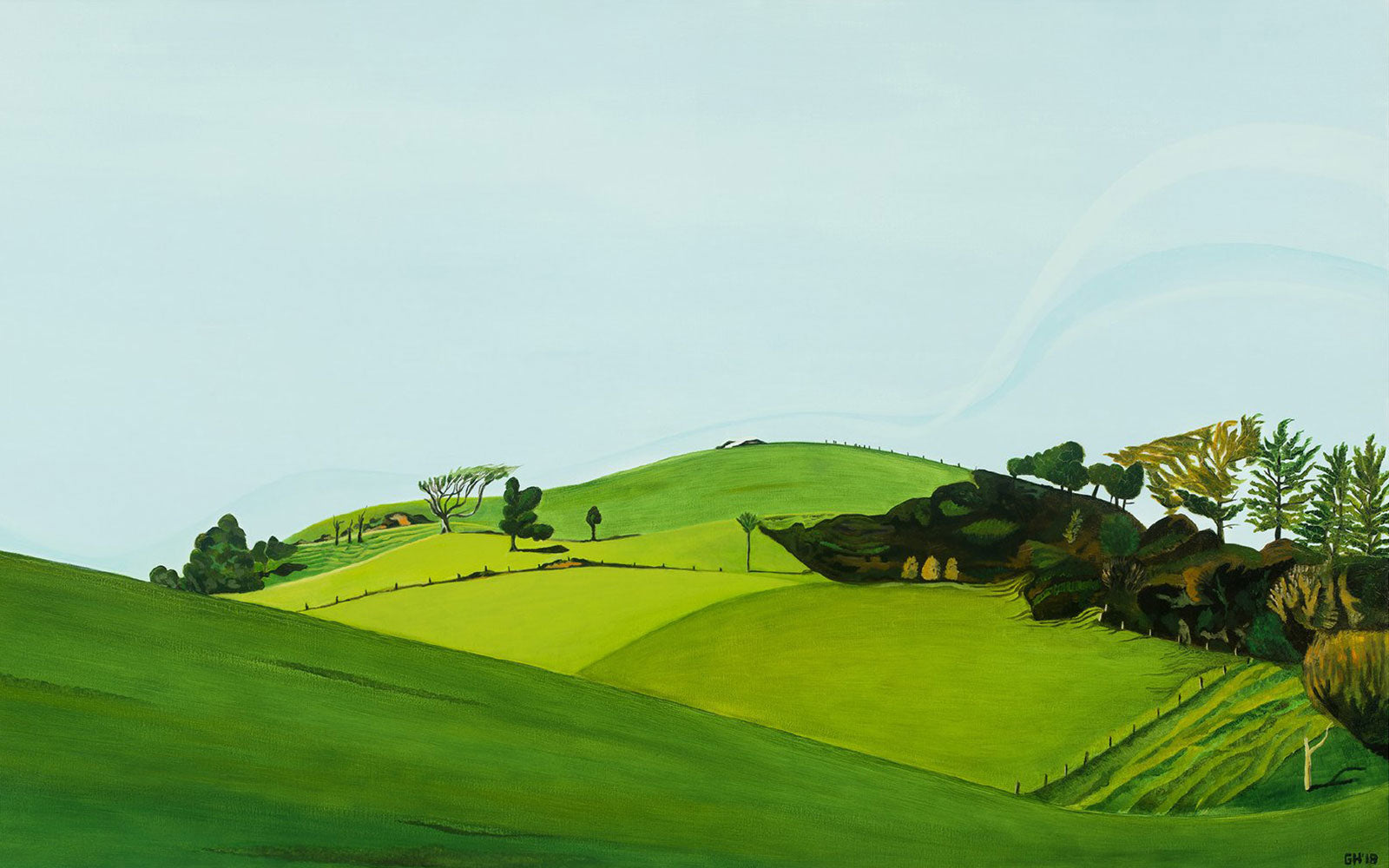White Rock Hill Painting by Guy Harkness / New Plymouth Taranaki