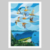Godwits over Stingray Bay Art Print