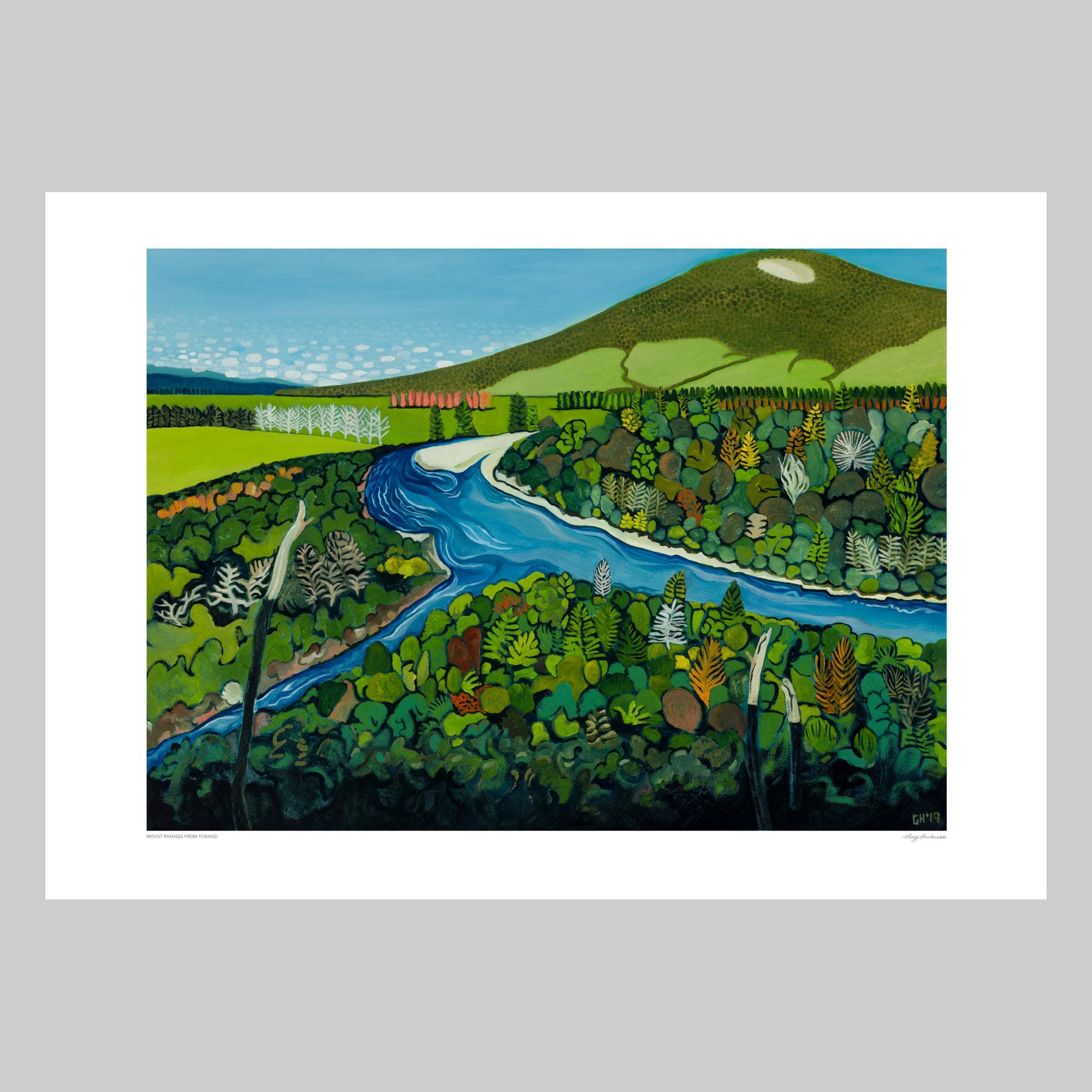 Mount Pihanga from Turangi Art Print by Guy Harkness Artist