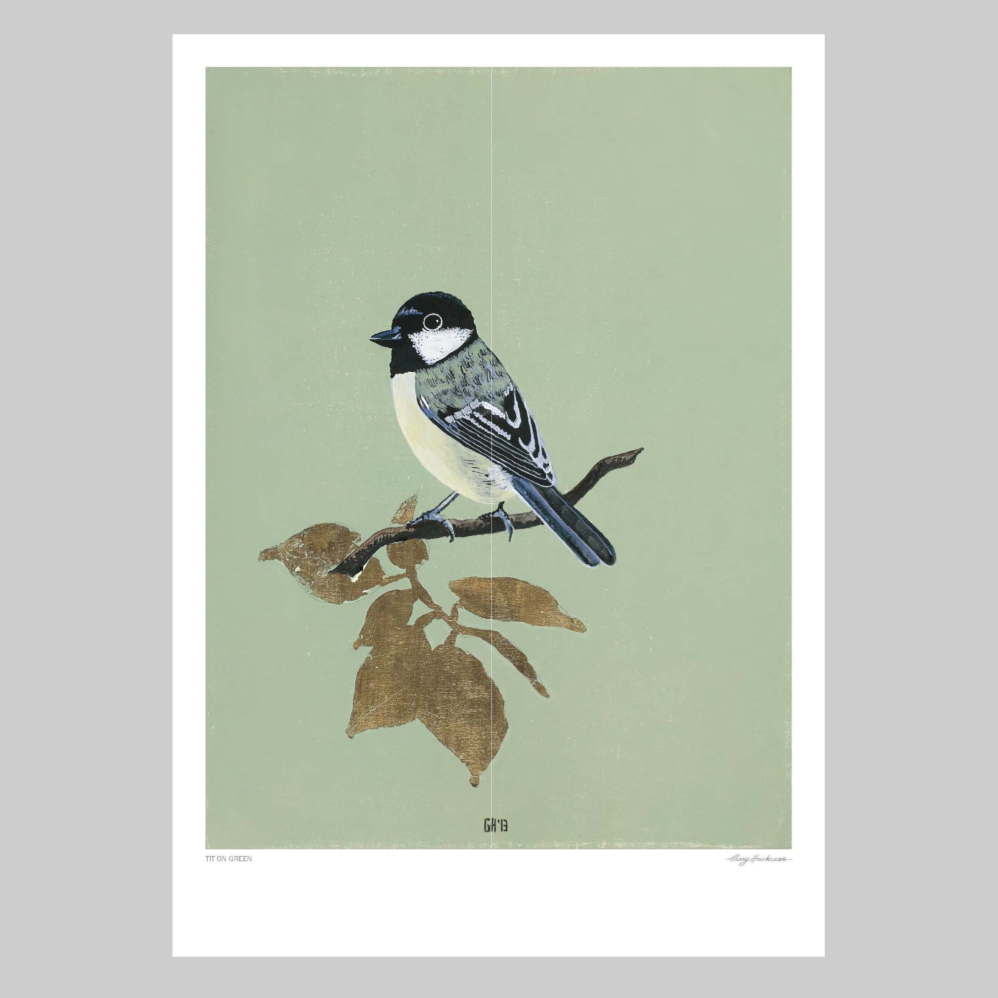 Tit on Green Art Print