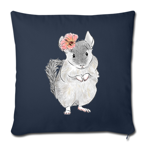 "Throw Pillow Cover 18"" x 18"" - Chinchilla Flower - navy"