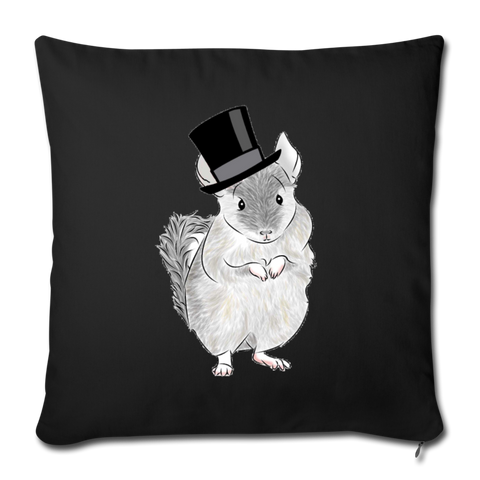 "Throw Pillow Cover 18"" x 18"" - Chinchilla Top Hat - black"