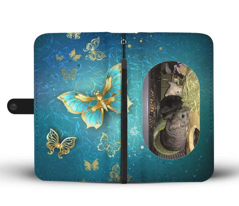 Custom Photo Wallet Phone Case - Teal Butterfly