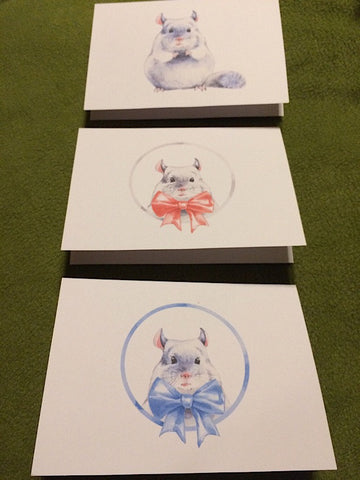 Watercolor Chinchilla Note Cards
