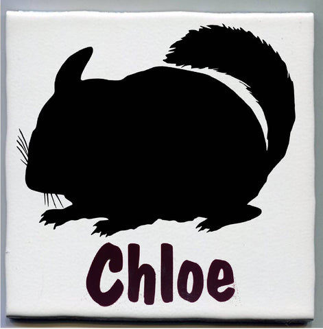 Ceramic Chinchilla Cage Name Tag/Plate/Tile, Medium