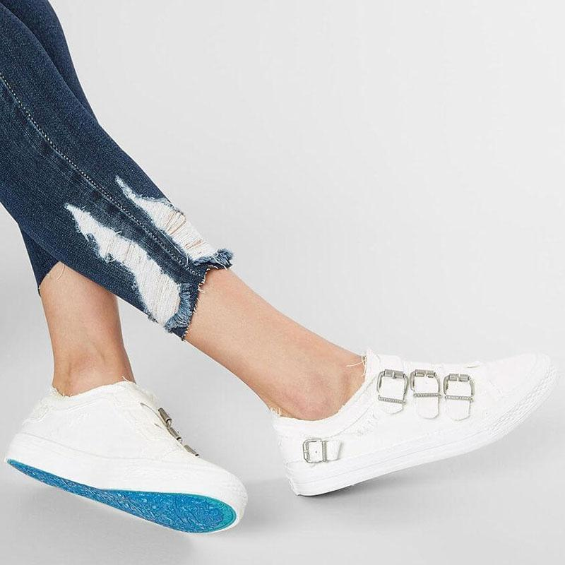 Women Canvas Slip-on Sneaker Shoes With Buckles