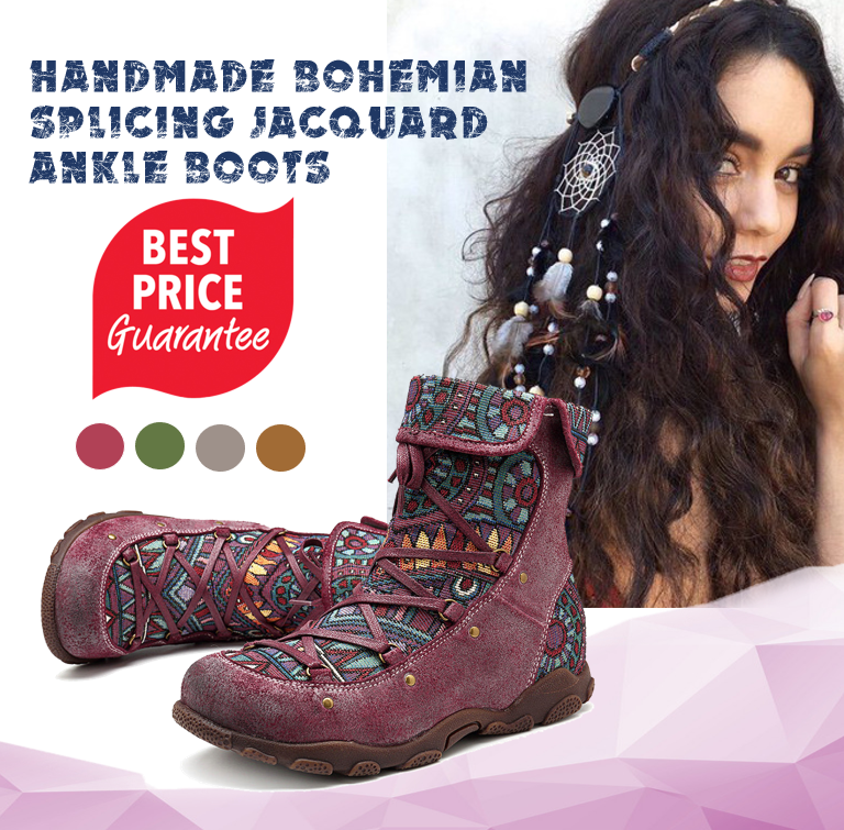 Handmade Bohemian Comfy Genuine Leather Splicing Jacquard Lace Up Zipper Flat Ankle Boots
